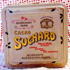Cutie originala MILKA, Old mint green tin Swiss Suchard's cacao.