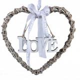 Inima din lemn decorativa, model cu mesaj si panglica, 29x29x2,2 cm