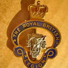 A934-Insigna veche Legiunea Regala Britanica in argint emailat si aurit.