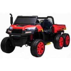 Buggy electric cu bena pentru 2 copii Premier 4x4 Hygge Truck, 6 roti cauciuc EVA, scaun piele ecologica, rosu