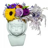 Cumpara ieftin Vaza ceramica Chip de copil cu flori din sapun, ideal obiect decor!