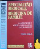 Specialitati medicale Medicina de familie Zamfir Marius teste grila rezidentiat