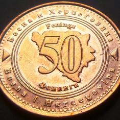 Moneda 50 FENINGA - BOSNIA- HERTEGOVINA, anul 1998    *cod 1796 - FRUMOASA: XF