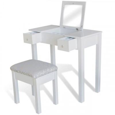 Masă de toaletă cu taburet și 1 oglindă rabatabilă, alb foto