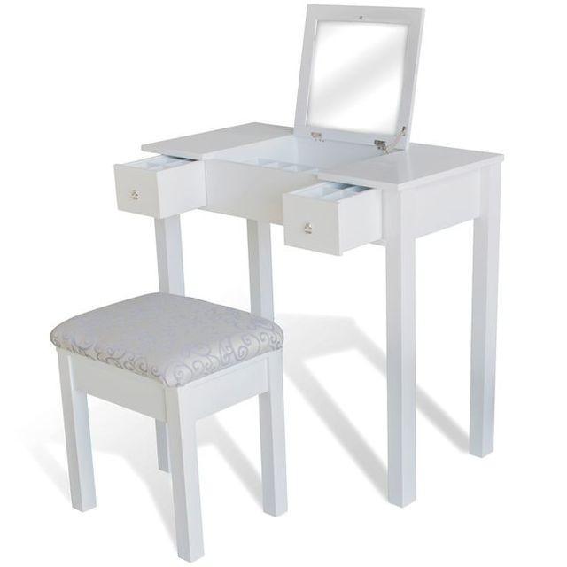 Masă de toaletă cu taburet și 1 oglindă rabatabilă, alb