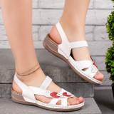 Sandale dama cu talpa ortopedica albe Melera
