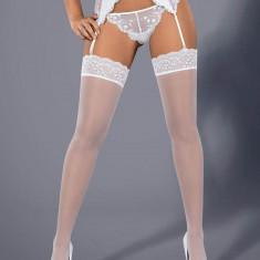 Ciorapi Cu Dantela Etheria, Alb, L/XL