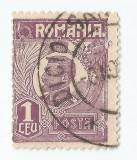 *Romania, LP 72/1929, Ferdinand - uzuale, 1 leu violet, eroare 2, oblit., Stampilat