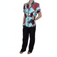 Pantalon de vara, bumbac negru, model simplu, marime mare