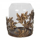 Suport lumanare din metal cupru cu pahar sticla Ø 29 cm x 36 h Elegant DecoLux, Clayre & Eef