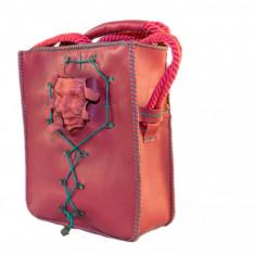 Poseta dama din piele, handmade rosie cu masca unicat