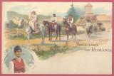 Salutari din Romania - cai - litografie, nescrisa, Necirculata, Fotografie