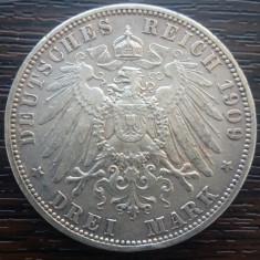 (A719) MONEDA DIN ARGINT GERMANIA, PRUSIA - 3 MARK 1909, LIT. A, WILHELM II