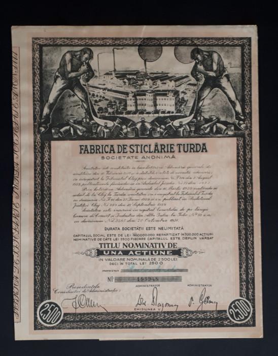 Actiune Fabrica de sticlarie Turda - 1931 - actiuni - titlu
