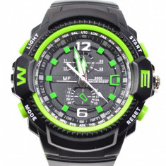 Ceas de mana barbati sport analog negru cu verde - MF9005QV