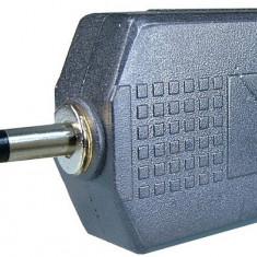 Adaptor jack tata 3,5 mm mono - 2 x jack mama 6,3 mm mono - 126634