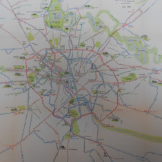 Harta Bucuresti, reteaua de transport in comun, 1966, 50x50 cm, caserata