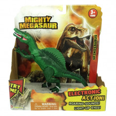 Dinozaur cu sunete si lumini Spinosaurus, 21 x 20 cm, Verde