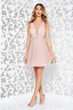 Rochie Ana Radu roz deschis de lux in clos captusita pe interior cu decolteu accesorizata cu cordon cu tul