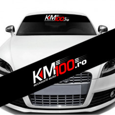 Parasolar auto promo, KM100.ro (126x16 cm)
