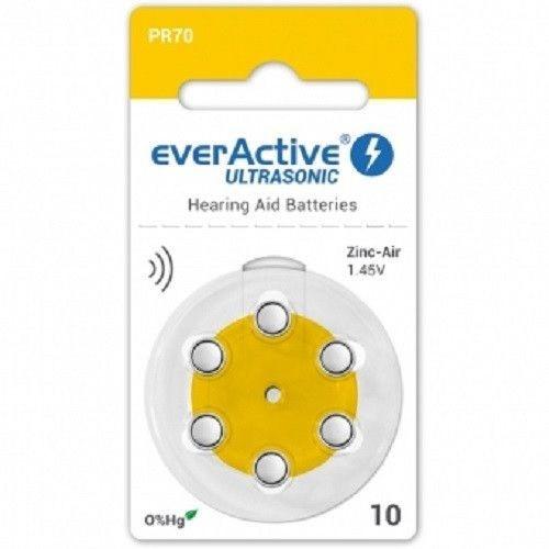 Baterii pentru proteze auditive Everactive ultrasonic 10 Zinc-Aer 6 Baterii /set