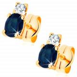 Cumpara ieftin Cercei din aur galben de 14K - diamant și safir oval, albastru