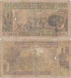 1989, 500 Francs (P-606 Hk) - Niger (Statele Africane de Vest)