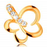 Cumpara ieftin Pandantiv realizat din aur galben de 14K - contur mic de fluture, clema pandantivului din zirconiu