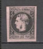 Romania.1866/67 Carol cu favoriti  hartie subtire  20 Parale  XR.5