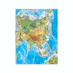 Asia. Harta fizica (fata)/Harta de contur (verso) 500x350 mm (LGHR7)