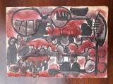 25. Pictura abstracta, acuarela veche