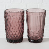 Pahar din sticla Aurora Roz inchis, Modele Asortate, Ø8xH13 cm