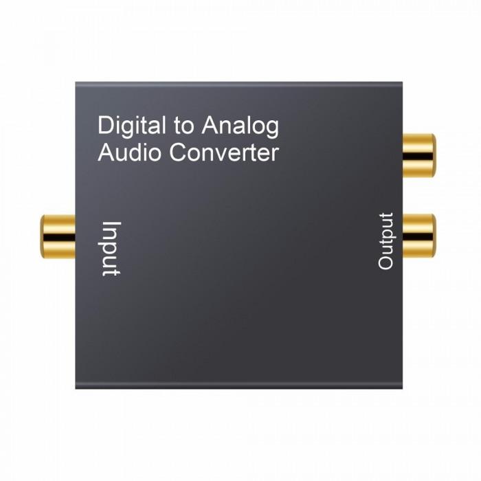 Convertor audio digital coaxial SPDIF toslink la semnal analog RCA + jack 3.5mm
