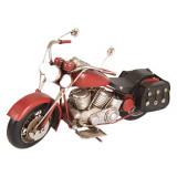 Macheta motocicleta retro metal rosie 28 cm x10 cm x 14 cm