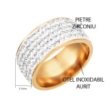 Inel tip verigheta din otel inoxidabil aurit , incrustata cu pietre Zirconiu