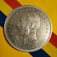 SV * 5  LEI  1906 * ARGINT. 835 * Regele Carol I * 40 Ani de la Încoronare  1866