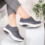 Pantofi Piele dama casual gri Visva