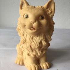 Pisica jucarie veche West Germany, cauciuc, 12 cm