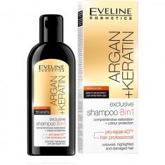 Sampon de par, Eveline Cosmetics, 8 in 1 Argan + Keratina, 150 ml