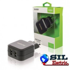 Incarcator de la retea, 2x iesire USB 2.4 A negru, Sweex