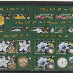 Romania,Ceasul florilor II 3 serii +vinieta,nr lista 1983.