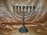 Iudaica! Menorah bronz masiv, colectie, cadou, vintage