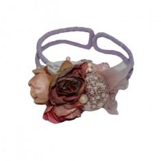 Bratara rafinata, nuanta de mov, floare fashion atasata