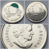 Set 2 monede 25 cents 2011 Canada, Bison, unc, varianta color & normala, America de Nord
