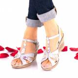 Sandale dama gri cu color din piele naturala - NA119COLORGRI