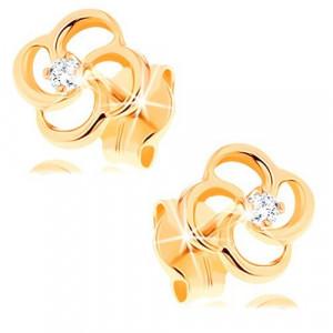 Cercei din aur galben 14K - floare cu un diamant transparent