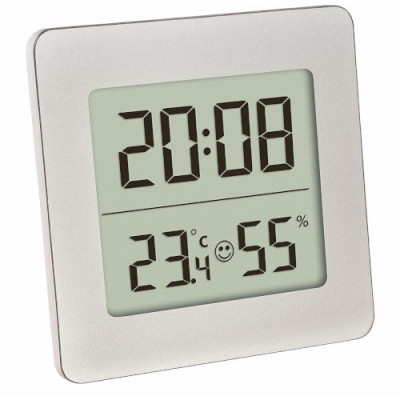 Termometru si Higrometru Digital cu Ceas si Alarma Alb foto