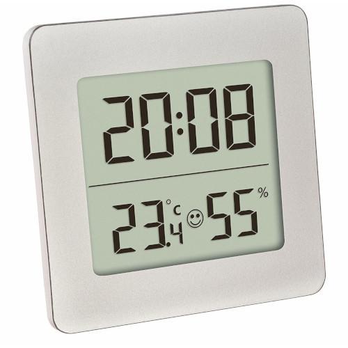 Termometru si Higrometru Digital cu Ceas si Alarma Alb