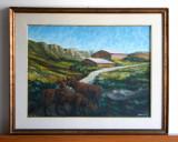 Ferma montana - tablou pictura originala ulei pe panza, rama cu sticla 76x61cm, Peisaje, Impresionism