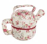 Cumpara ieftin Opritor de usa textil rosu bej Tea Pot Flowers 27x14x17 cm, Bizzotto